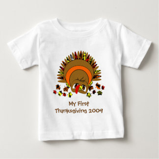 Cute Cartoon Thanksgiving Turkey Baby T-Shirt