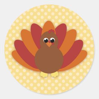 Cute Cartoon Thanksgiving Turkey Classic Round Sticker