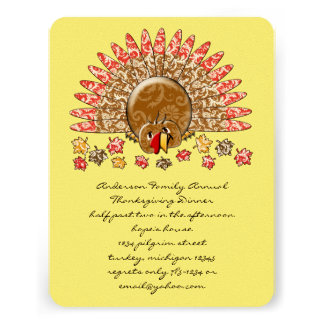 Cute Cartoon Thanksgiving Turkey Personalized Invitations
