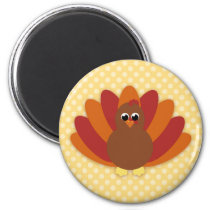 Cute Cartoon Thanksgiving Turkey Magnet