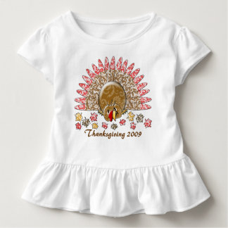 Cute Cartoon Thanksgiving Turkey Toddler T-shirt