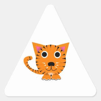 Cute Cartoon Tiger Cat Triangle Stickers