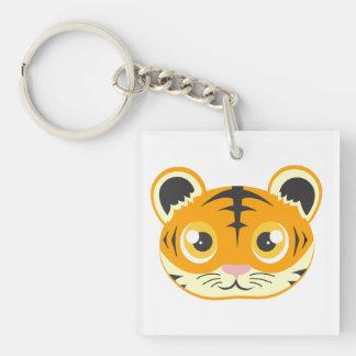 Cute Cartoon Tiger Square Acrylic Key Chain