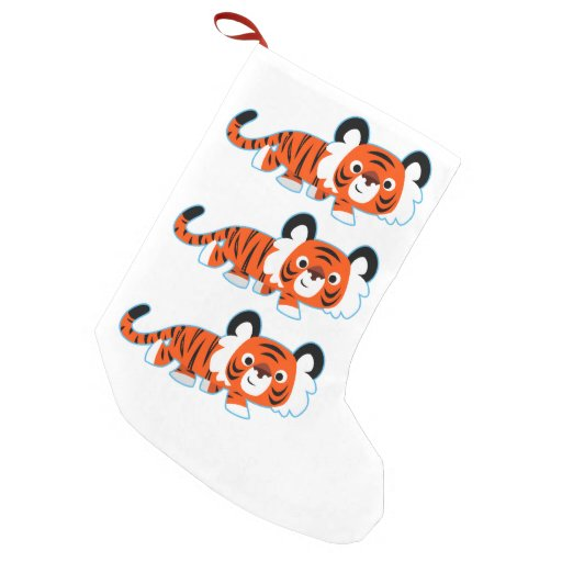 Cute Cartoon Tiger on The Prowl Stocking Small Christmas Stocking