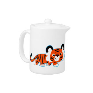 Cute Cartoon Tiger on The Prowl Teapot