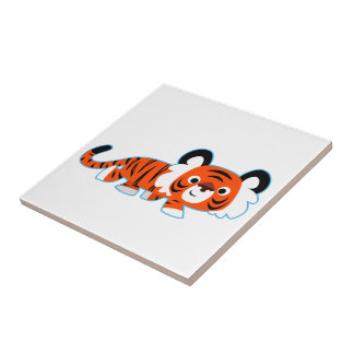 Cute Cartoon Tiger on The Prowl Tile