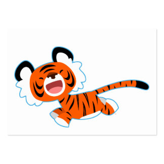 Cute Cartoon Tiger On The Run ACEO/Business Card Large Business Cards (Pack Of 100)