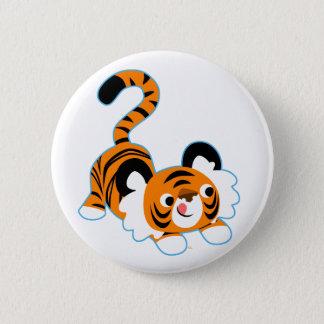 Cute Cartoon Tiger Ready To Play Button Badge