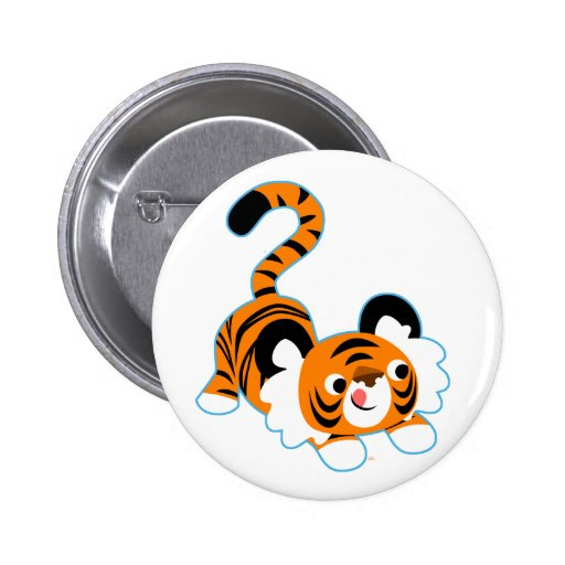 Cute Cartoon Tiger Ready To Play Button Badge