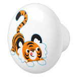 Cute Cartoon Tiger Ready To Play Ceramic Knob