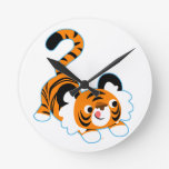 Cute Cartoon Tiger Ready To Play Round Clock