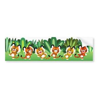 Cute Cartoon Tigers Dance In Jungle Bumper Sticker bumpersticker