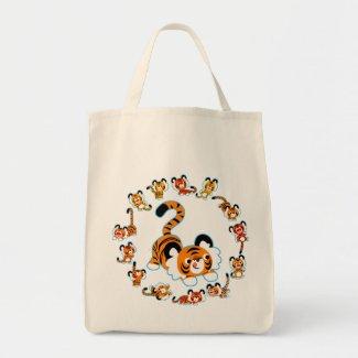 Cute Cartoon Tigers Mandala (Blue) Grocery Bag bag