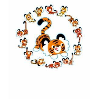 Cute Cartoon Tigers Mandala (Blue) Women T-Shirt shirt