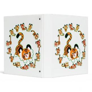 Cute Cartoon Tigers Mandala (green) Avery Binder binder