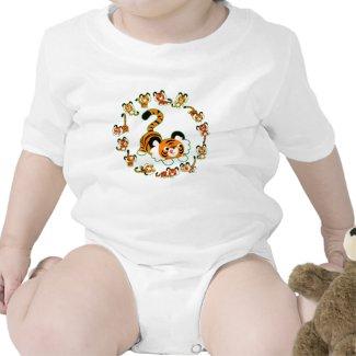 Cute Cartoon Tigers Mandala (green) Baby Apparel shirt