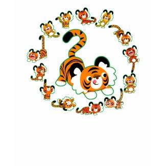 Cute Cartoon Tigers Mandala (green) Kids T-Shirt shirt