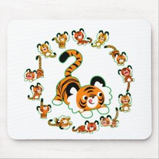 Cute Cartoon Tigers Mandala (green) Mousepad mousepad