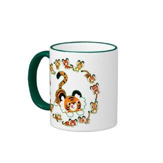 Cute Cartoon Tigers Mandala (green) Mug mug