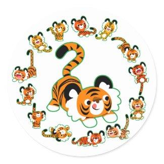 Cute Cartoon Tigers Mandala (green) Sticker sticker