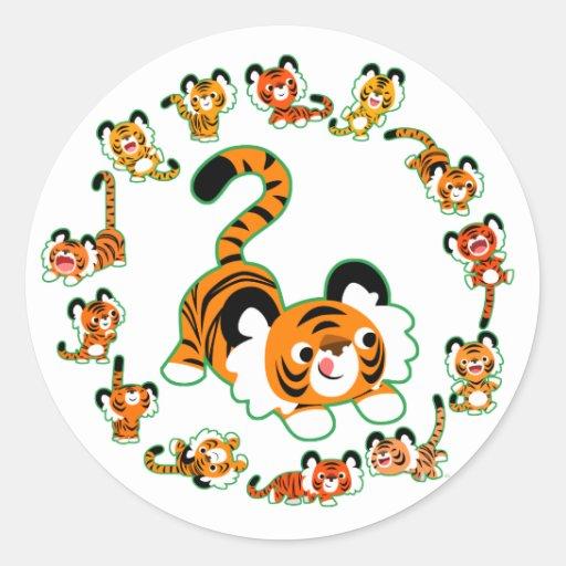 Cute Cartoon Tigers Mandala (green) Sticker