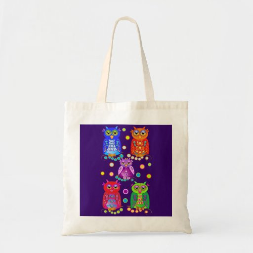 Cute cartoon tote with decorative owls tote bags
