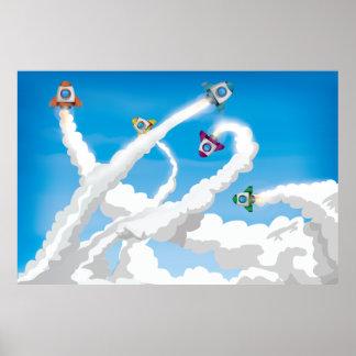 Cute Cartoon Toy Rockets! Poster