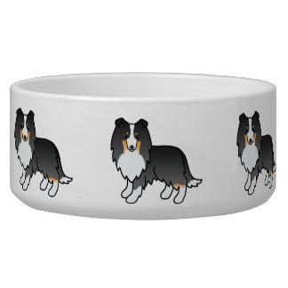 Cute Cartoon Tricolor Shetland Sheepdog Dogs Bowl