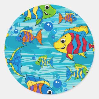 Cute Cartoon Tropical Fish Classic Round Sticker