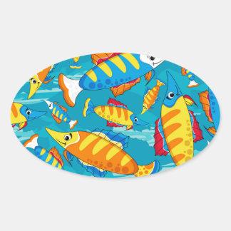 Cute Cartoon Tropical Fish Pattern Oval Sticker