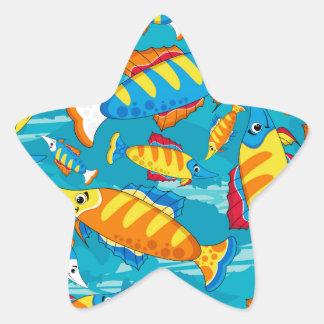 Cute Cartoon Tropical Fish Pattern Star Sticker