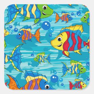 Cute Cartoon Tropical Fish Square Sticker