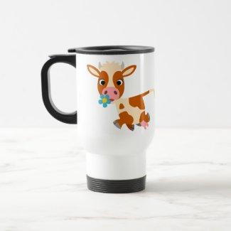 Cute Cartoon Trotting Cow Commuter Mug mug