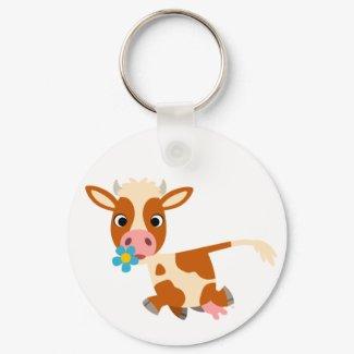 Cute Cartoon Trotting Cow Keychain keychain