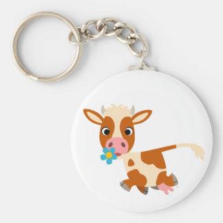 Cute Cartoon Trotting Cow Keychain