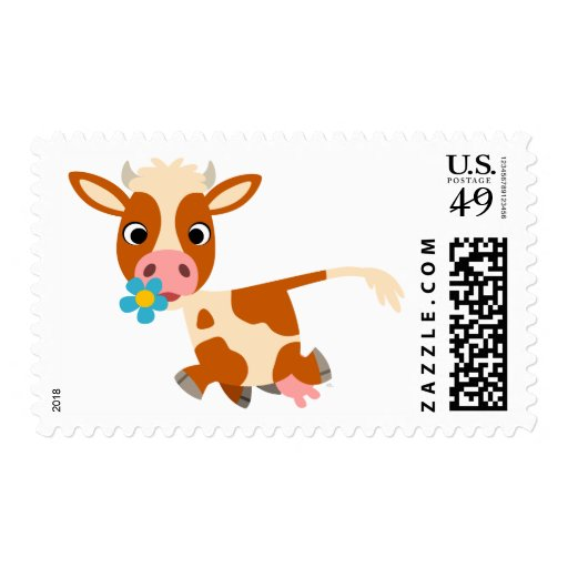 Cute Cartoon Trotting Cow  Postage Stamp