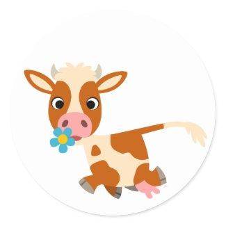 Cute Cartoon Trotting Cow Sticker sticker