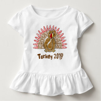Cute Cartoon Turkey Damask change to current Year Toddler T-shirt
