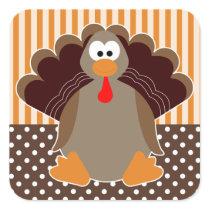 Cute Cartoon Turkey Happy Thanksgiving Sticker