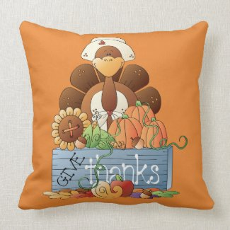 Cute Cartoon Turkey Throw Pillow