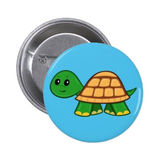 Cute Cartoon Turtle Button