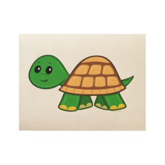 Cute Cartoon Turtle Custom Wood Poster