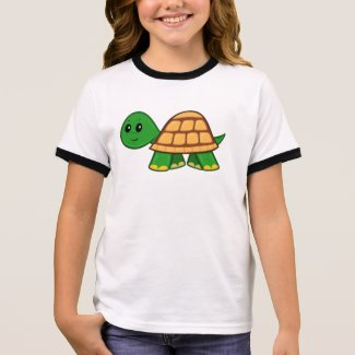 Cute Cartoon Turtle Girl's Ringer T-Shirt