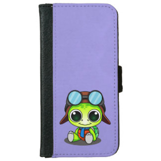 Cute Cartoon Turtle in Aviator Hat Wallet Phone Case For iPhone 6/6s