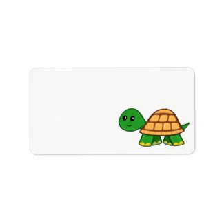 Cute Cartoon Turtle Label