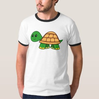 Cute Cartoon Turtle Men's Ringer T-Shirt
