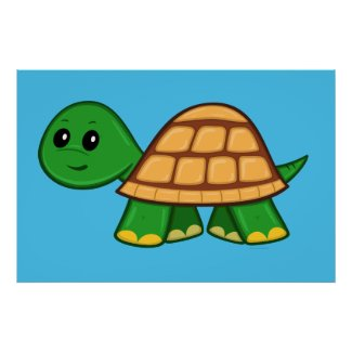 Cute Cartoon Turtle Poster