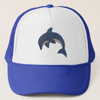 Cute Cartoon Type Blue White Jumping Dolphin Trucker Hat