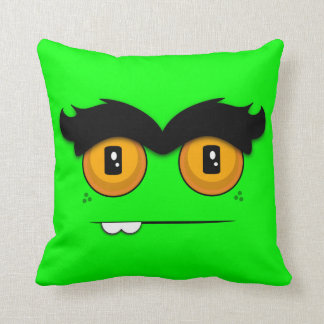 Cute Cartoon Unibrow Monster Face in Lime Pillow