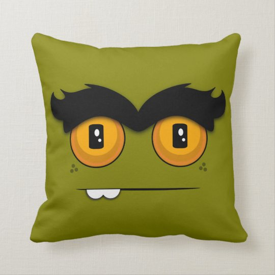 Cute Cartoon Unibrow Monster Face in Olive Green Throw Pillow